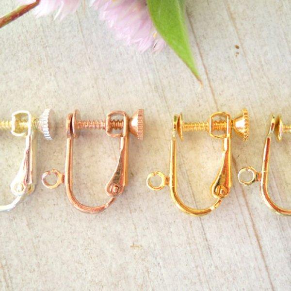 画像1: ねじばね型イヤリングパーツ・ニッケルフリー・ゴールドK24K18K・シルバー手作りイヤリングに。当店でもセットいたします。