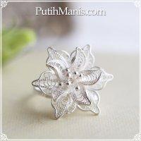ジャスミンのお花のリング|銀線細工の花びらが美しい。フリーサイズリング silver925