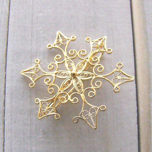 画像2: 雪の結晶のブローチ【フィリグリー・銀線細工】(ヴェルメイユ・24Kピュアゴールド)