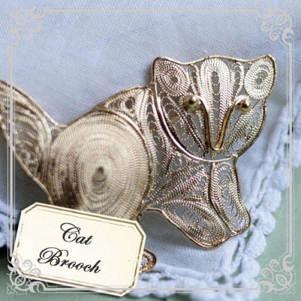 画像1: 銀線を丁寧に巻いて作った子猫(ネコ)ちゃんのブローチ【フィリグリー・銀線細工パーツ(24Kゴールド・ヴェルメイユ)