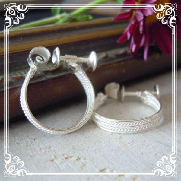 画像1: ツイストワイヤーを挟んだシンプル5連リングのフープイヤリング・【silver925】