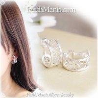 アラベスクのフープイヤリング|銀線細工でアンティーク風にデザインしたアラベスク模様【silver925】