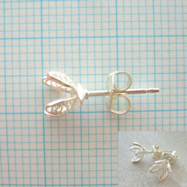 画像1: フィリグリーのお花にビーズを入れられるセッティングパーツ(ピアス)シルバー(シルバー)silver925【透かしパーツ】【フィリグリー】