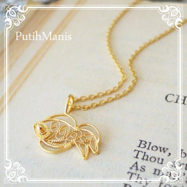 画像1: 金魚のネックレス【金属アレルギーの方に配慮したニッケルフリー加工】