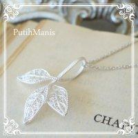 葉っぱ3枚のネックレス|銀線細工で葉脈の細部までこだわったチャーム【silver925】