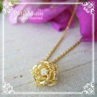 蓮の花のゴールドネックレス(小)【金属アレルギーの方に配慮したニッケルフリー加工】