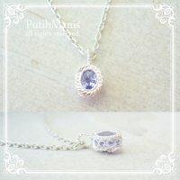 タンザナイトのシルバーネックレス|12月誕生石の天然タンザナイトを銀線細工で包んだネックレス【silver925】