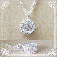 CZ一粒石のシルバーネックレス|4月誕生石の代替AAAクラスCZダイヤを銀線細工で包んだネックレス【silver925】