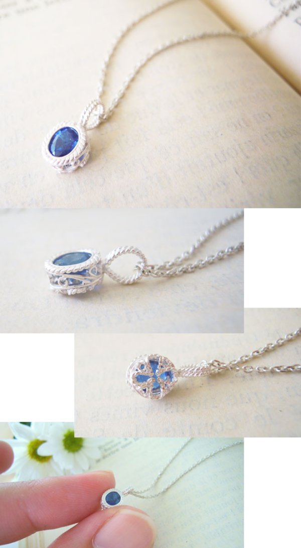 画像2: サファイヤの一粒ネックレス|9月誕生石の天然サファイヤ、大きめオーバルの神秘的な青い色の石を銀線細工で包んだネックレス【silver925】