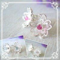 3way CZダイヤ・桜の花のピアス