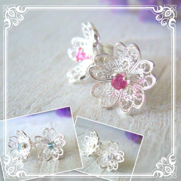 画像1: 3way CZダイヤ・桜の花のピアス