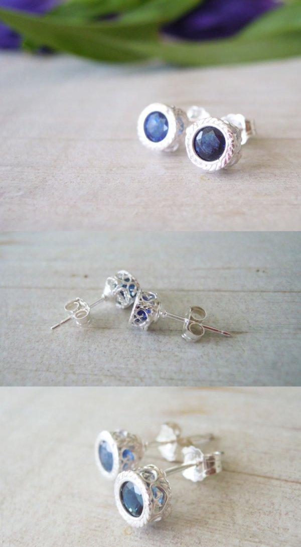 画像2: サファイヤ一粒石のシルバーピアス。9月誕生石の天然サファイヤの神秘的な青を耳元に。金属アレルギーの方にもおすすめのsilver925金属アレルギーの方にもおすすめのsilver925。