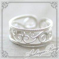 アラベスク模様のリング|百合文様の透かしがアンティーク風な指輪【silver925】