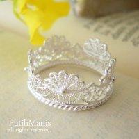 スカラップレースのリング|銀線細工の透かしを花びらのように連ねたリング【silver925】