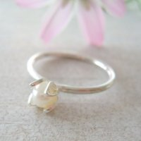 一粒パールのリング|銀線細工・フィリグリーの花びらでパールを包んだシルバーリング【silver925】
